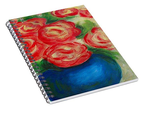 original-fine-art-custom-print-red-roses-blue-vase-II Spiral Notebook