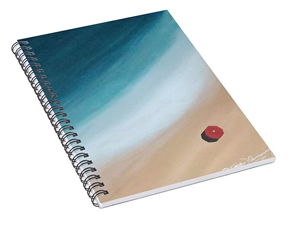 Pacific Ocean And Red Umbrella Spiral Notebook