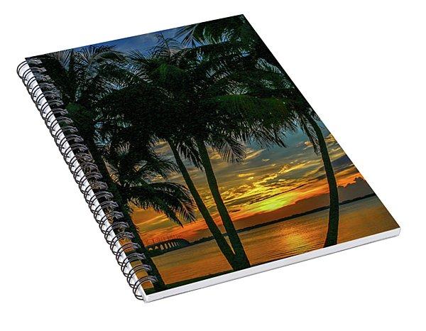 Palm Tree Lagoon Sunrise Spiral Notebook