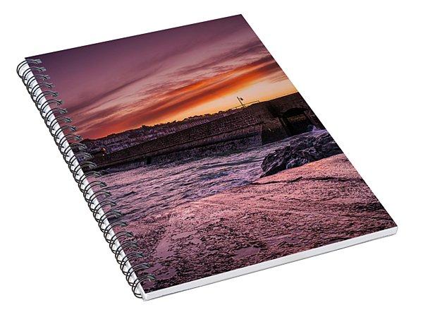 Pier To Pier Sunset Spiral Notebook