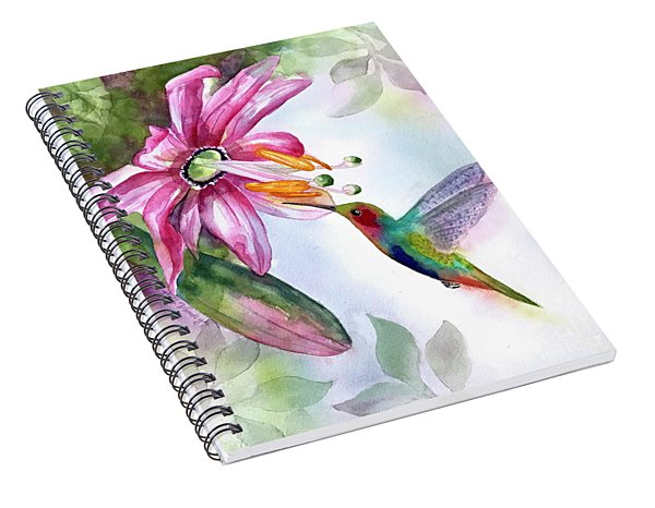 Pink Flower For Hummingbird Spiral Notebook