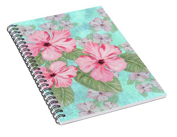 Pink Hibiscus Print On Aqua Spiral Notebook