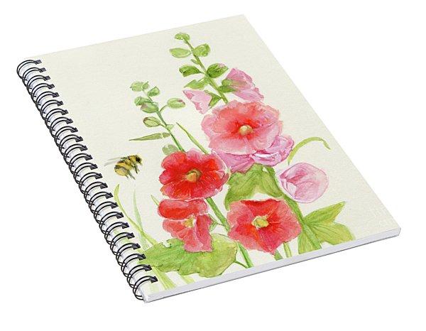 Pink Hollyhock Watercolor Spiral Notebook