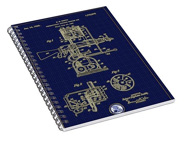 Pneumatically Actuated Machine Gun Patent Drawing Spiral Notebook