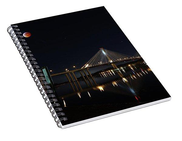Port Mann Bridge With Blood Moon Spiral Notebook