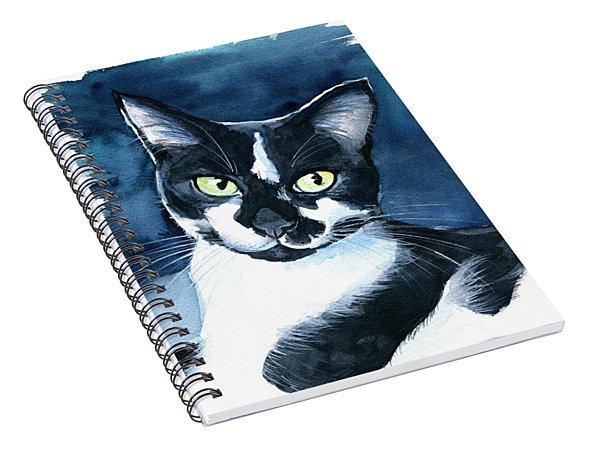 Rollie Tuxedo Cat Painting Spiral Notebook