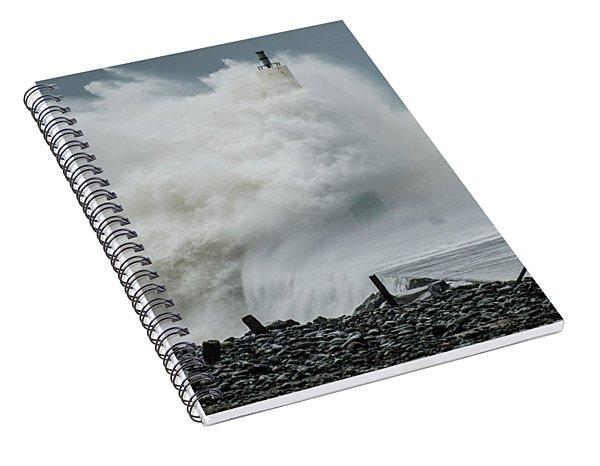 Storm Brian Hitting Aberystwyth Lighthouse Spiral Notebook