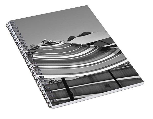 Striped Umbrellas In Black And White Spiral Notebook