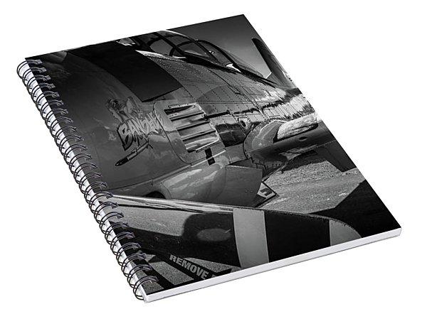 T-28b Trojan In Bw Spiral Notebook