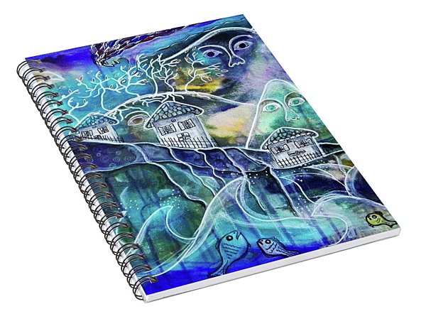 Three Houses On A Cliff Spiral Notebook