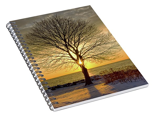 Spiral Notebook featuring the photograph Tree Framed Sunrise New Hampshire by Nathan Bush