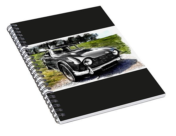 Triumph Tr5 Monochrome With Brushstrokes Spiral Notebook