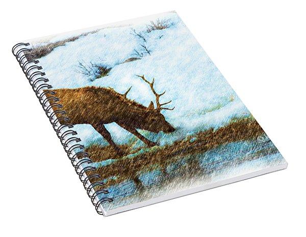 Winter Elk By River Spiral Notebook