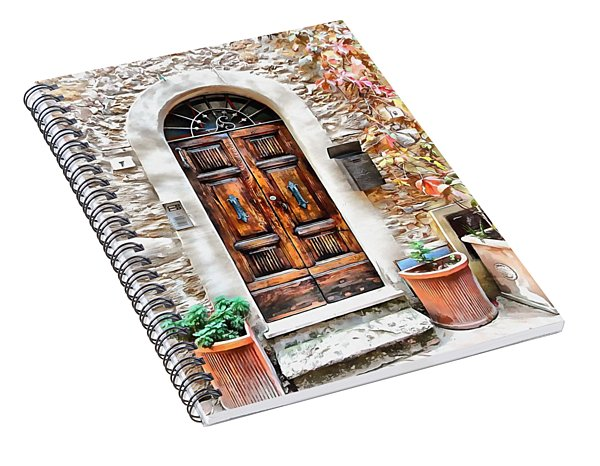 Spiral Notebook featuring the photograph Wooden Door Pienza by Dorothy Berry-Lound