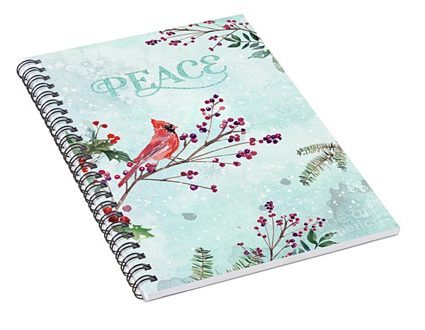 Woodland Holiday Peace Art Spiral Notebook