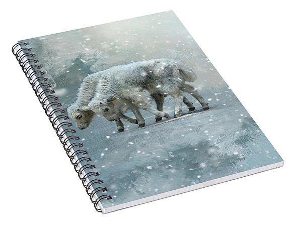 Yaks Calves In A Snowstorm Spiral Notebook