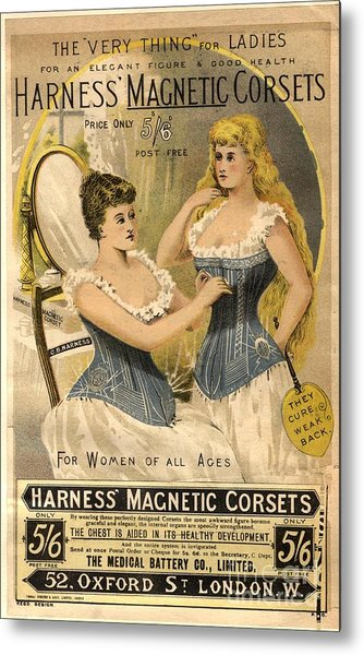 1890s Uk Corsets Girdles Magnetic Metal Print by The Advertising Archives