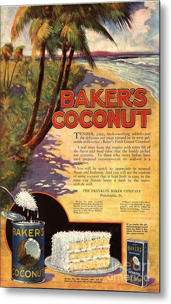 1910s Usa Bakers Coconuts Cakes Baking Metal Print by The Advertising Archives
