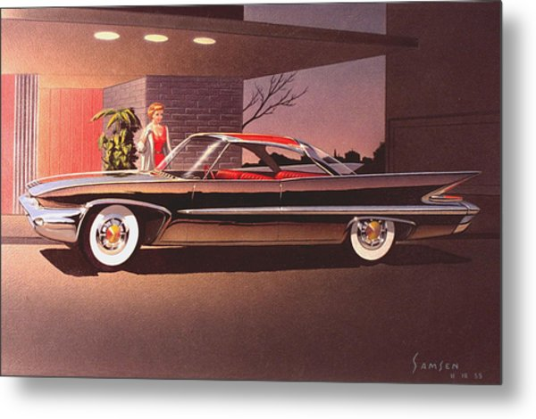 1960 Desoto Classic Styling Design Concept Rendering Sketch Metal Print by John Samsen
