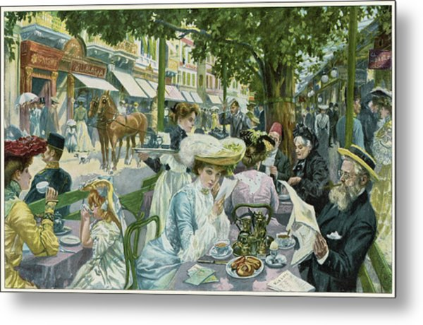 A Busy Time In The 'alte  Wiese' Cafe Metal Print by Mary Evans Picture Library