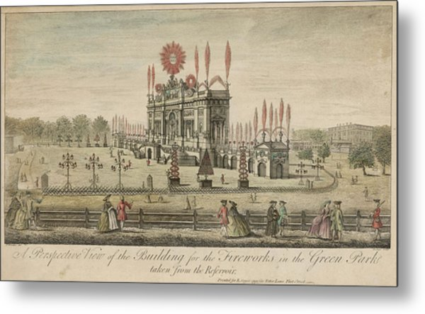 A Fireworks Display At Green  Park Metal Print by Mary Evans Picture Library