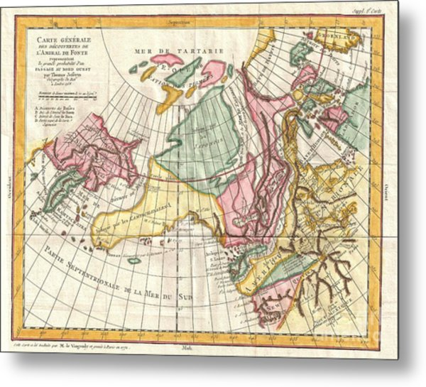 A Truly Fascinating 1772 Map Of The Northwestern Parts Of North America By Robert De Vaugondy And T Metal Print