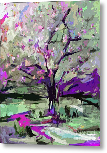 Abstract Art Tree In Bloom By Ginette Metal Print
