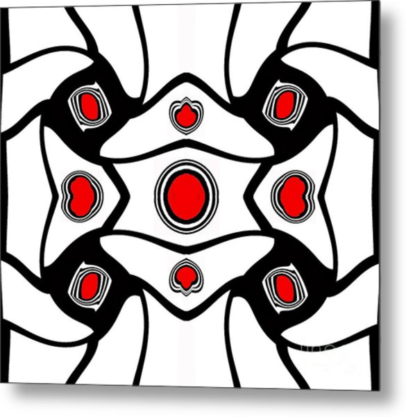Abstract Geometric Black White Red Art No. 380. Metal Print by Drinka Mercep