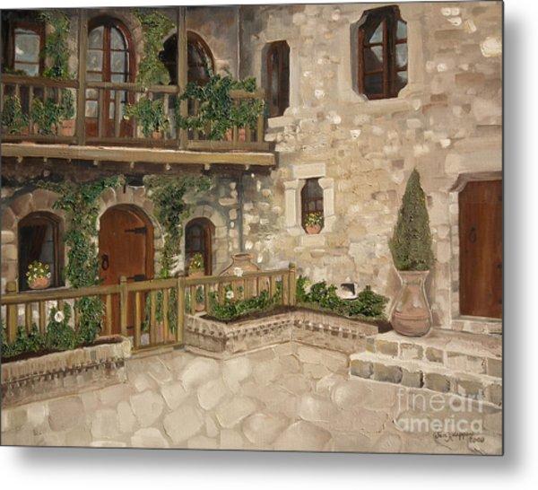Greek Courtyard - Agiou Stefanou Monastery -balcony Metal Print