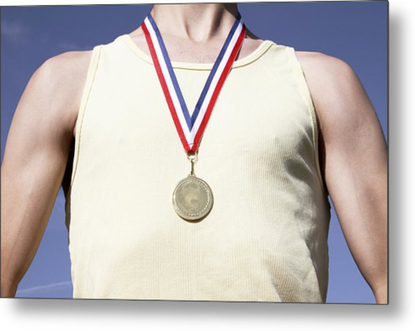. Athlete With Gold Medal Metal Print by Tom and Steve