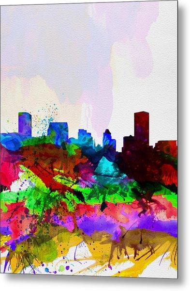 Baltimore Watercolor Skyline Metal Print
