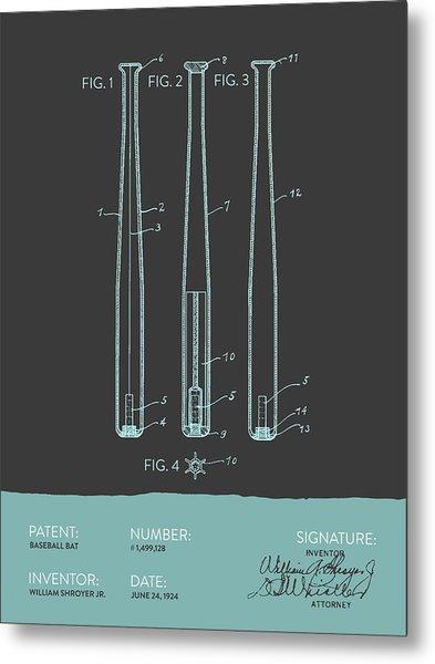 Baseball Bat Patent From 1924 - Gray Blue Metal Print