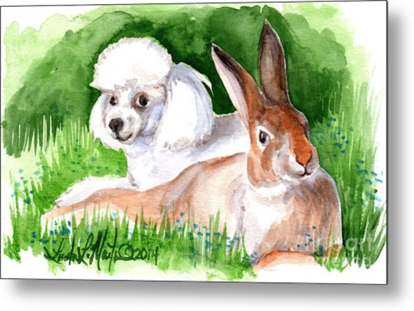 Metal Print featuring the painting  Best Friends by Linda L Martin