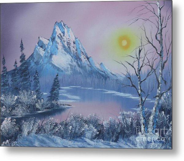 Blue Winter's Sunglow  Metal Print