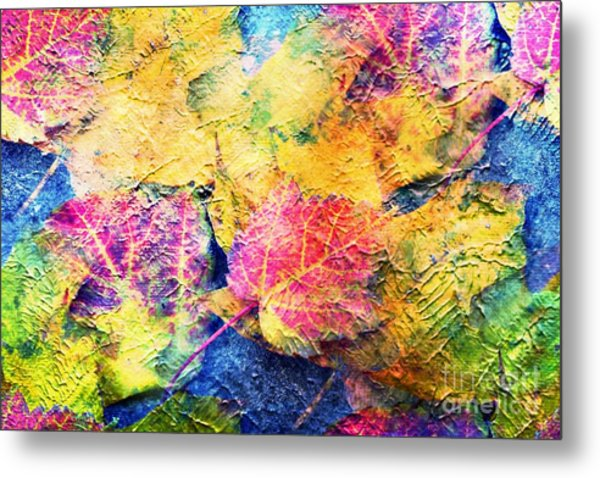 Bright- Colorful Fall Leave Abstract Metal Print