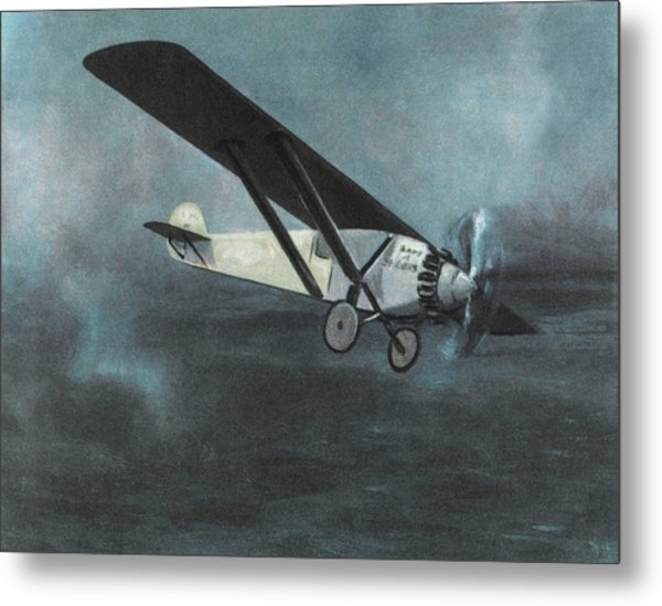 Charles Lindbergh Is The First  To Fly Metal Print by Mary Evans Picture Library