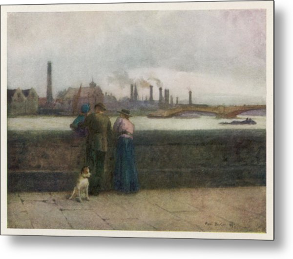 Chelsea Embankment On A Grey Day Metal Print by Mary Evans Picture Library