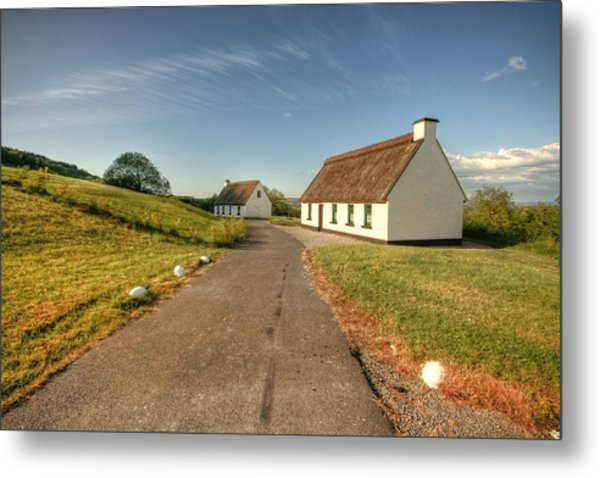 Corofin Thatched Cottages Metal Print by John Quinn