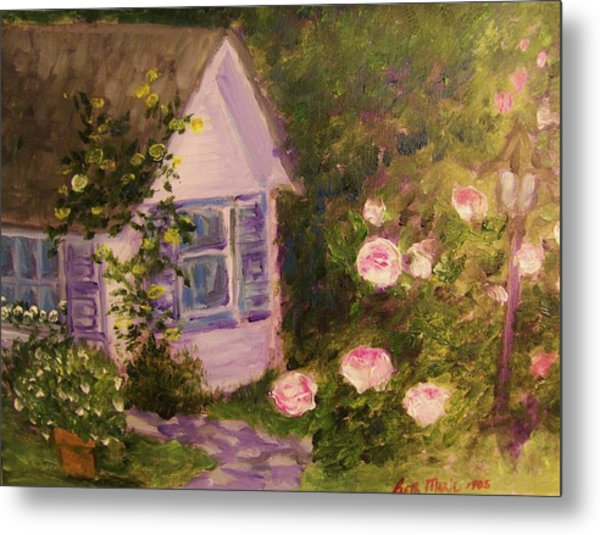 Cottage  In  The  Garden Metal Print