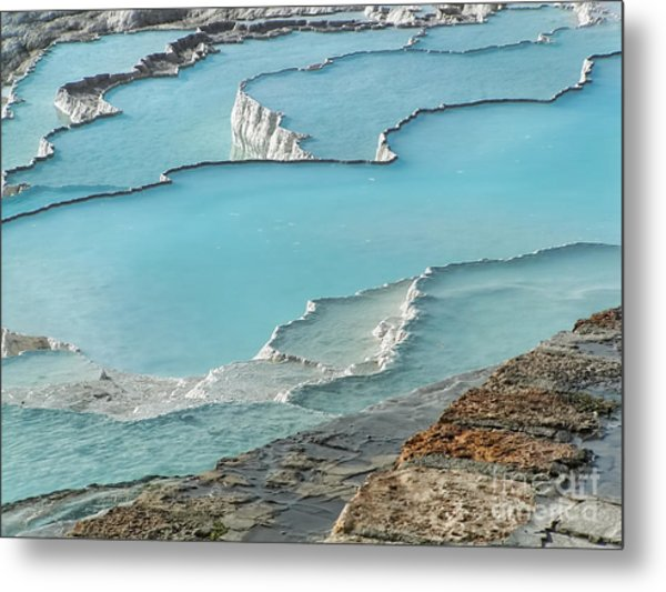Cotton Castle Surrounded By Azure Pools Metal Print