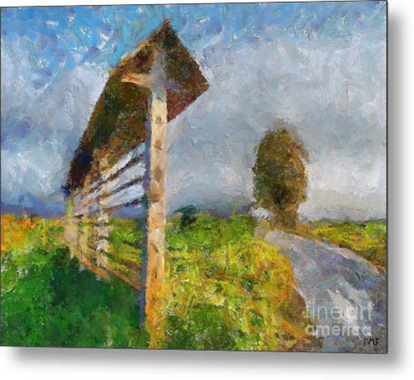 Country Road With Hayrack Metal Print