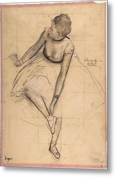 Dancer Adjusting Her Slipper Metal Print