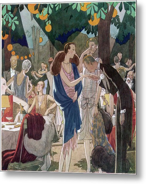 Fashionable People In An Open- Air Metal Print by Mary Evans Picture Library
