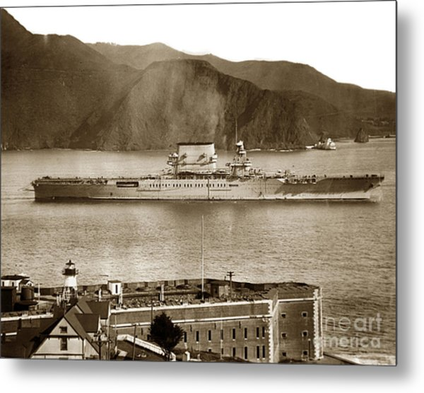 U. S. S. Lexington Cv-2 Fort Point Golden Gate San Francisco Bay California 1928 Metal Print