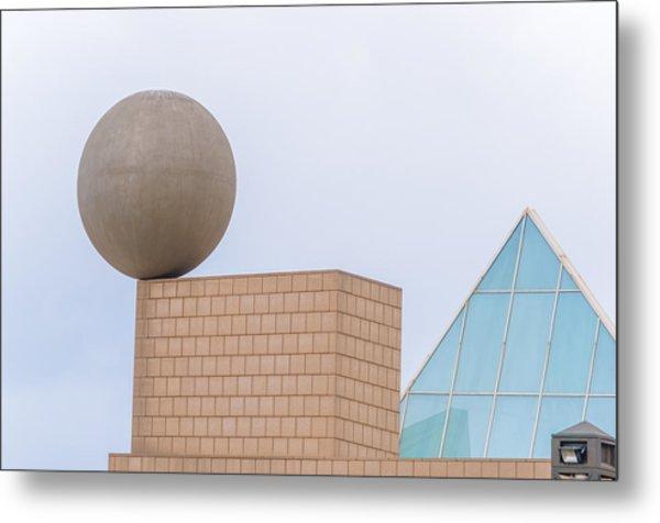 Gehrys Sphere Sculpture  Barcelona Spain  Metal Print