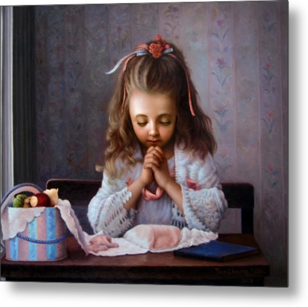 Girl's Prayer Metal Print