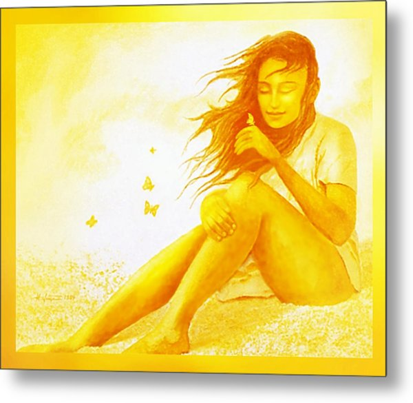 Metal Print featuring the painting  Golden  Butterfly  Girl by Hartmut Jager