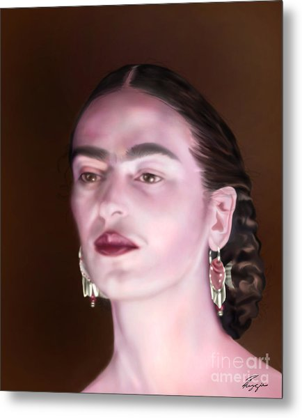 In The Eyes Of Beauty - Frida Metal Print