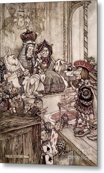 Knave Before The King And Queen Of Hearts Illustration To Alice S Adventures In Wonderland Metal Print