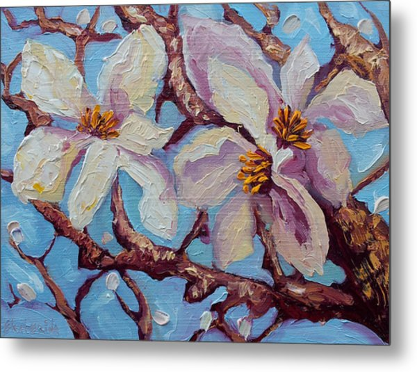 Magnolia Flower Painting Oil On Canvas Fine Art By Ekaterina Chernova  Metal Print